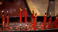 Chinese Red Gold Candle, The Chinese Temple in China Town in Bangkok, Thailand Stock Footage