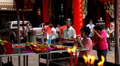 Chinese People Praying, Worship, Red Gold Candle, The Chinese Temple, China Town HD Footage
