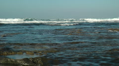 Mediterranean Sea Shore. Surfer catching the wave.Crane shot. Stock Footage