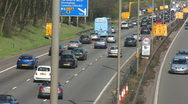 Stock Video Footage of Traffic on the M1-M6 Motorway junction dual carriageway.