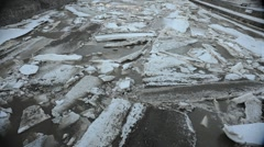 Ice Jam Timelapse: Moving Chunks of Ice (29.97fps) Stock Footage