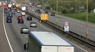 Traffic on the M1-M6 Motorway junction dual carriageway. Stock Footage