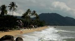 Tropical Paradise Island, Ko Samui, Amazing Thailand, Granitic  Rocks, Big Waves Stock Footage
