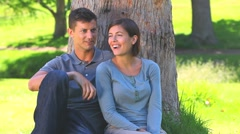 Young couple sharing an apple Stock Footage