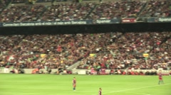FC Barcelona fans in stadium during game Stock Footage
