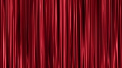 Red curtains open and close Stock Footage