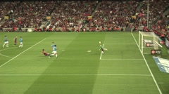 FC Barcelona player Villa almost scores - stock footage