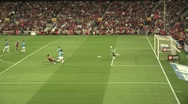 FC Barcelona player Villa almost scores Stock Footage