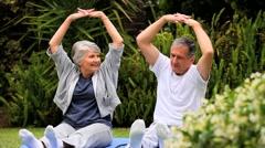 Couple practising oriental exercises in garden Stock Footage