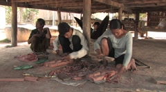 Cambodia: Making Wood Carvings Stock Footage