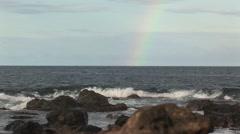 Rainbow from the sea Aruba island in the caribbean - stock footage