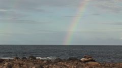 Rainbow from the sea Aruba island in the caribbean - stock footage