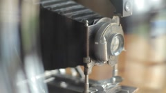 HD Vintage Film Camera - behind glass Stock Footage