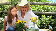 Woman with grandaughter doing dome gardening Stock Footage