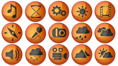 Loop icon set with alpha Stock Footage