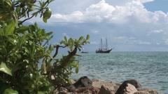 Ship near Aruba island in the caribbean - stock footage