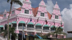 Colorful buildings in Oranjestad Aruba island in the caribbean - stock footage