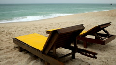 Tropical Paradise Island, Ko Samui, Beach Lounge Chair, Folding Deck Chair, Thai Stock Footage