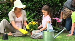 Family doing some gardening Stock Footage
