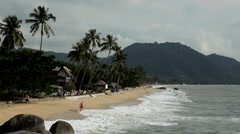 Tropical Paradise Island, Ko Samui, Amazing Thailand, Granitic  Rocks, Big Waves Stock Footage