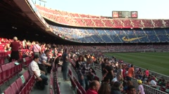 Inside FC Barcelona stadium before game 6 - stock footage