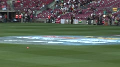 Inside FC Barcelona stadium before game 7 - stock footage
