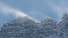 Snow spindrift on mountain peak 01 Stock Footage