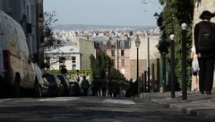 people walk through the streets of Paris in the summer France - stock footage