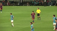 Messi and Villa, FC Barcelona players, during soccer game Stock Footage
