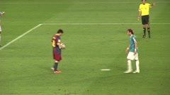 Messi scores penalty kick for FC Barcelona - stock footage