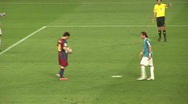 Stock Video Footage of Messi scores penalty kick for FC Barcelona