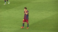 Stock Video Footage of Messi, FC Barcelona player, during game