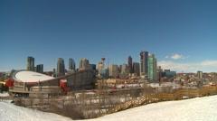 Calgary skyline fresh snow, April 2011 Stock Footage