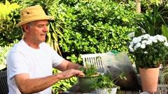 Man potting plants in garden Stock Footage