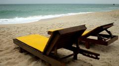 Tropical Paradise Island, Ko Samui, Beach Lounge Chair, Folding Deck Chair, Thai - stock footage