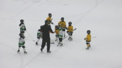 Young Children Play Ice Hockey At An Indoor Arena Canada Stock Footage