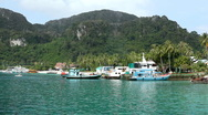 Stock Video Footage of Tropical Paradise, Long Tail Boats in Ton Sai Bay Port, Ko Phi Phi Don, Thailand