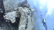 Stock Video Footage of 110407 Stern Section, large shoal of  fish, anti aircraft gun, Thistlegorm