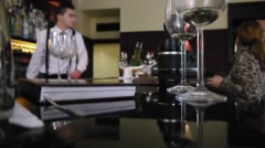 EUROPEAN BAR WITH BARTENDER Stock Footage