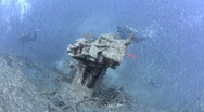 Stock Video Footage of 110407 Stern Section,top view of anti aircraft gun, large shoal of bait fish,