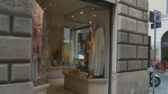 Religeous shop in Rome glidecam slow mo Stock Footage