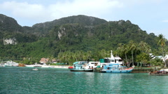Tropical Paradise, Long Tail Boats in Ton Sai Bay Port, Ko Phi Phi Don, Thailand Stock Footage
