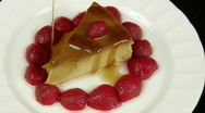 Flan with Strawberries Caramel Poured (HD) Stock Footage