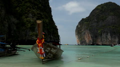 Long Tail Boat at Maya bay, Phi Phi Island , Phuket Thailand Stock Footage