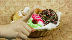 Attempt at Stealing Doughnut (HD) Stock Footage
