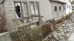 Flood damaged building Stock Footage