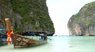 Tropical Paradise, Long Tail Boats in Maya Bay (The Beach Film) Amazing Thailand Stock Footage