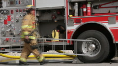 Firefighter and Fire Truck Slow HD3880 Stock Footage