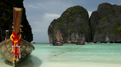 Tropical Island Paradise, Long Tail Boats Maya Bay, Amazing Sandy Beach Thailand Stock Footage