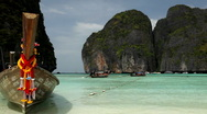 Stock Video Footage of Tropical Island Paradise, Long Tail Boats Maya Bay, Amazing Sandy Beach Thailand